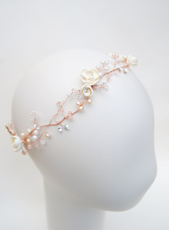 Wedding pink hair crown with blush beads and crystals | Elibre handmade bespoke bridal headband