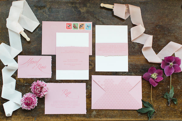 wedding pink stationery