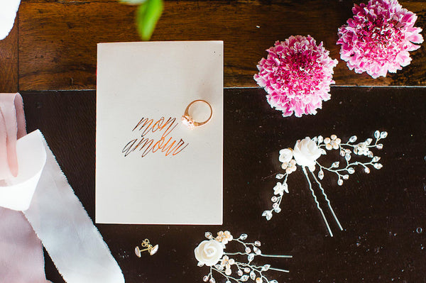 Wedding stationery and bridal hairpins