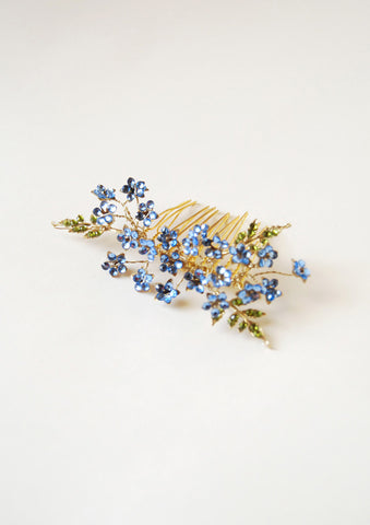 sky blue flower hair comb | tailor-made | Elibre handmade