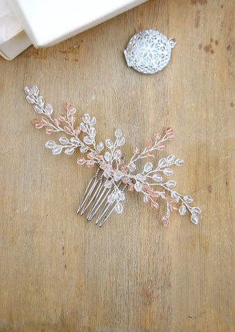 Bridal crystal pink hair brooch | tailor-made | Elibre handmade