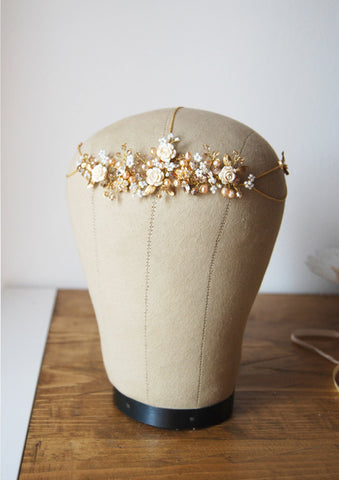 Bohemian pearl hair crown | tailor-made | Elibre handmade