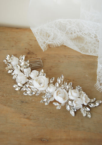 wedding crystal floral hair comb | Tailor-made | Elibre handmade