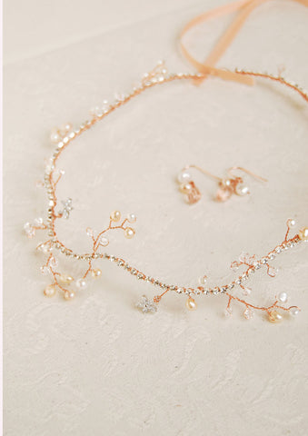 Rose gold pearl and crystal hair crown | tailor-made | Elibre handmade