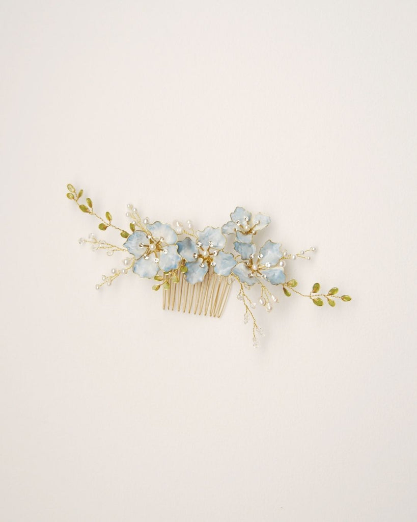 Delightful blue flower hair comb | Elibre