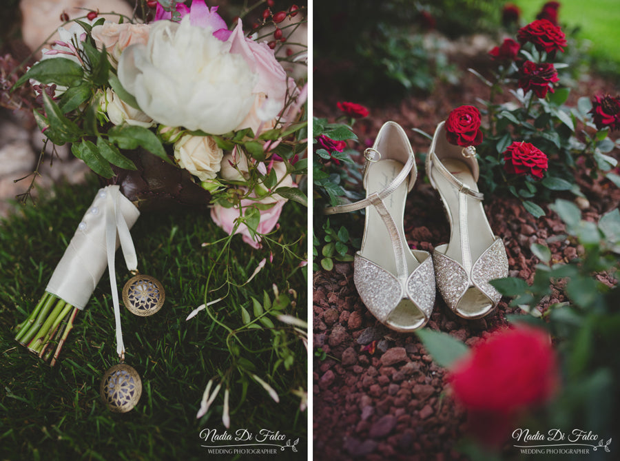 wedding bouquet with lockets and bride's shoes
