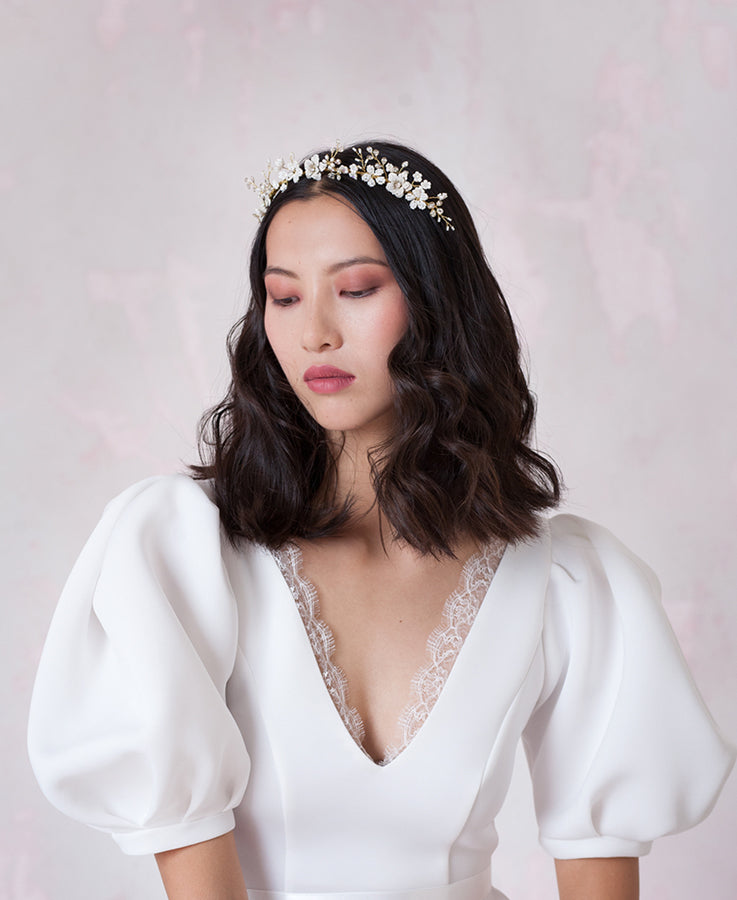 Garden white flowers hair crown | Elibre handmade