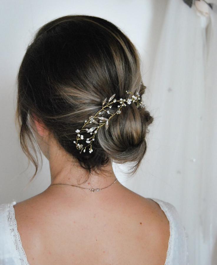 crystal and pearl long head band