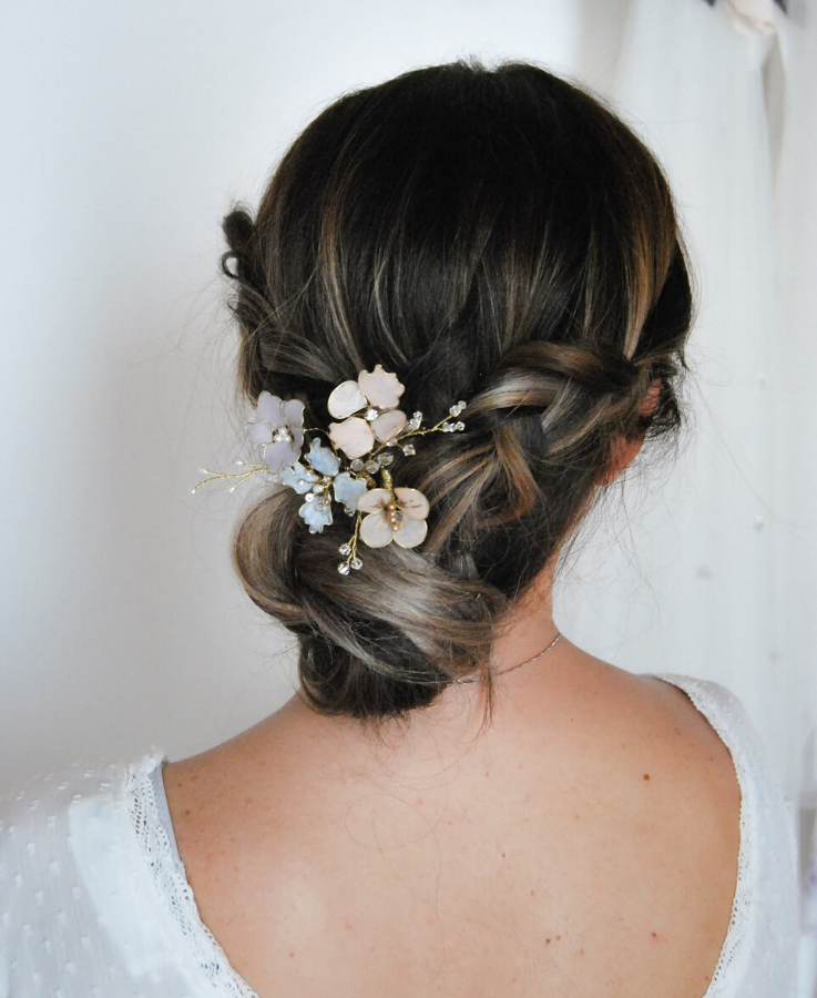 floral blush hairpin