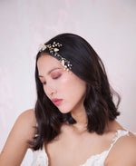 Pearl and crystal leaves vine hair piece | Elibre handmade