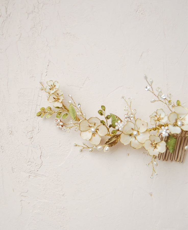 Pink and green botanical hair comb | Elibre handmade