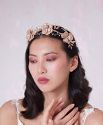 White and pink beaded hair tiara | Elibre handmade