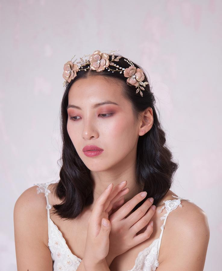 Bridal pink floral hair crown | Elibre handmade