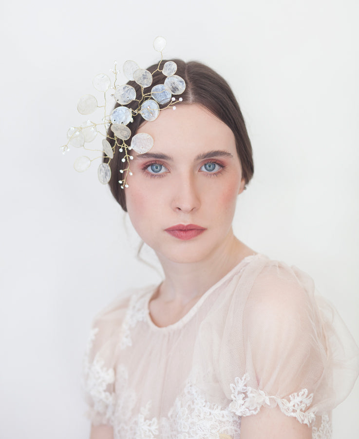 #lunaria #weddinghair #hairstyle #bride | Wedding ivory hair piece| Elibre handmade