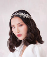Delicate pearl and crystal floral halo crown | Elibre handmade