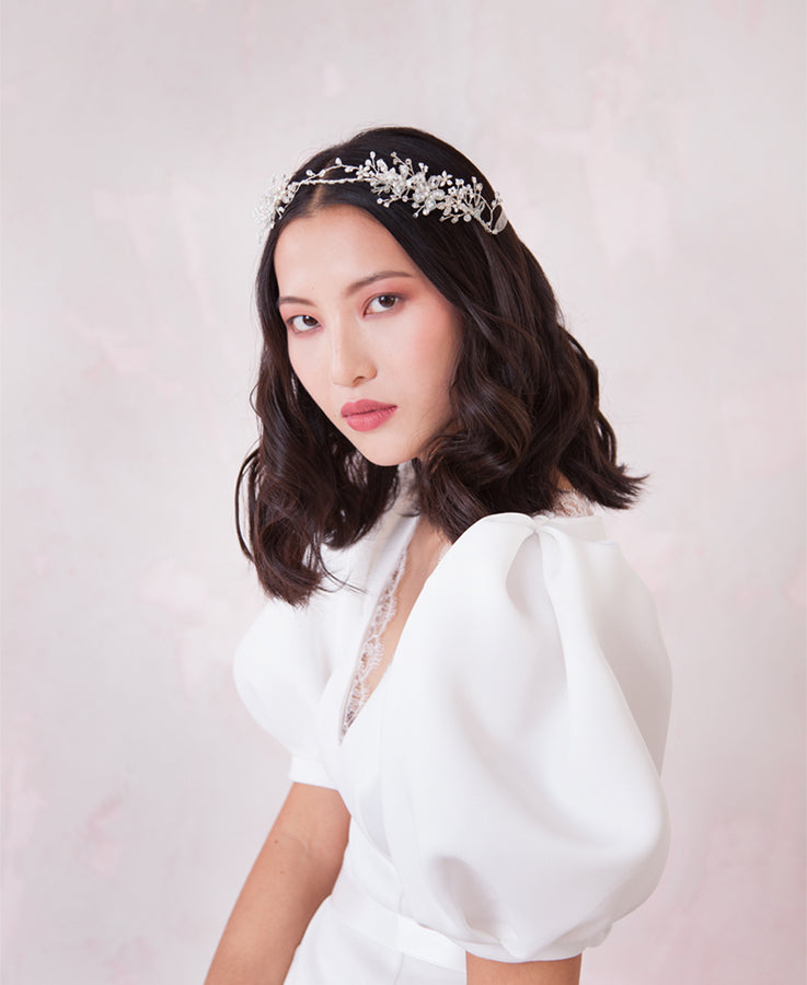 Wedding white intertwined hair crown | Elibre handmade
