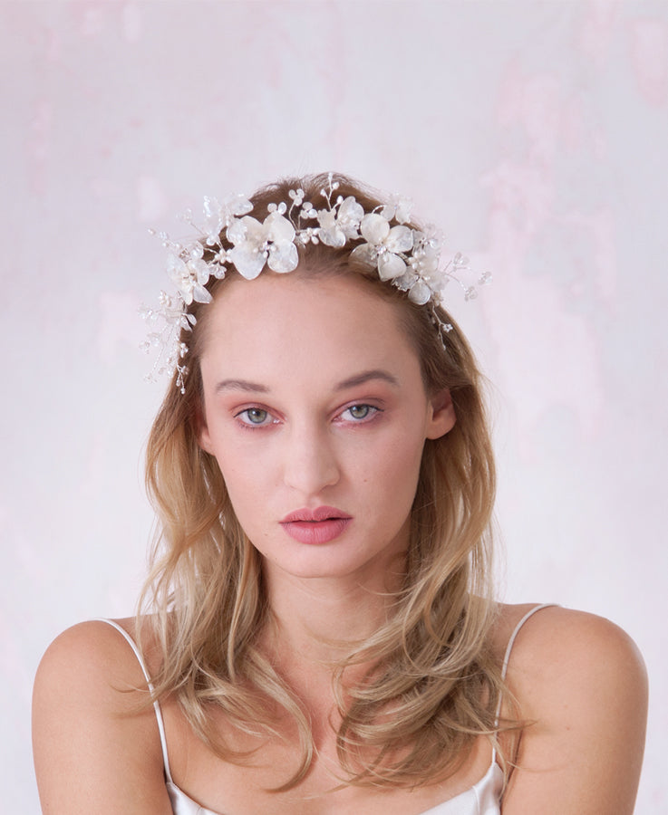 Statement wedding hair tiara in white | Elibre handmade