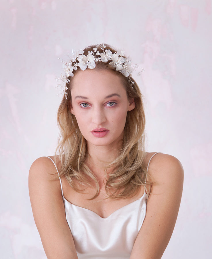White and silver bridal headpiece | Elibre handmade