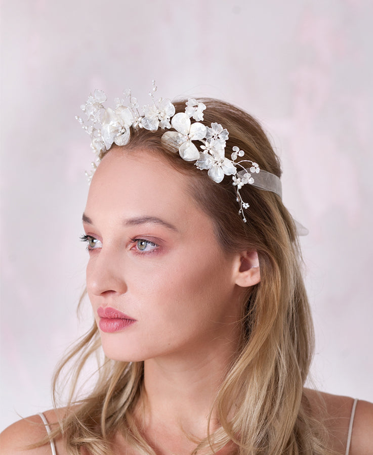 wedding pearled flower hair crown | Elibre handmade