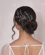 Airy crystal leaves hairpin | Elibre handmade
