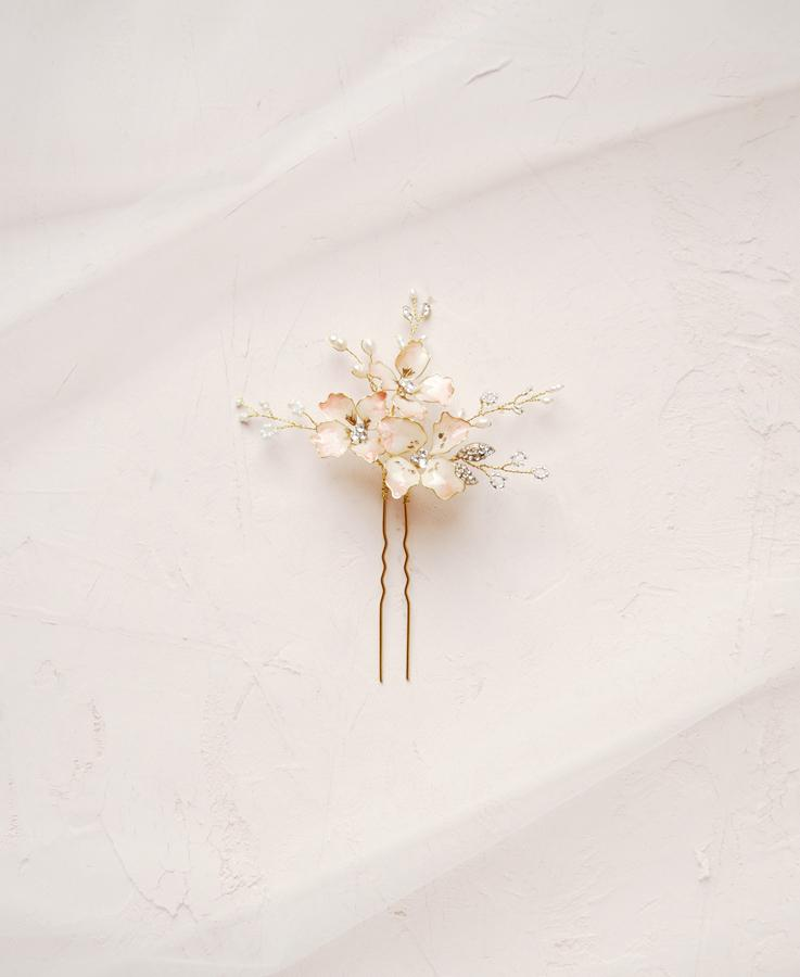 Bride pink flower hair pin | Elibre handmade