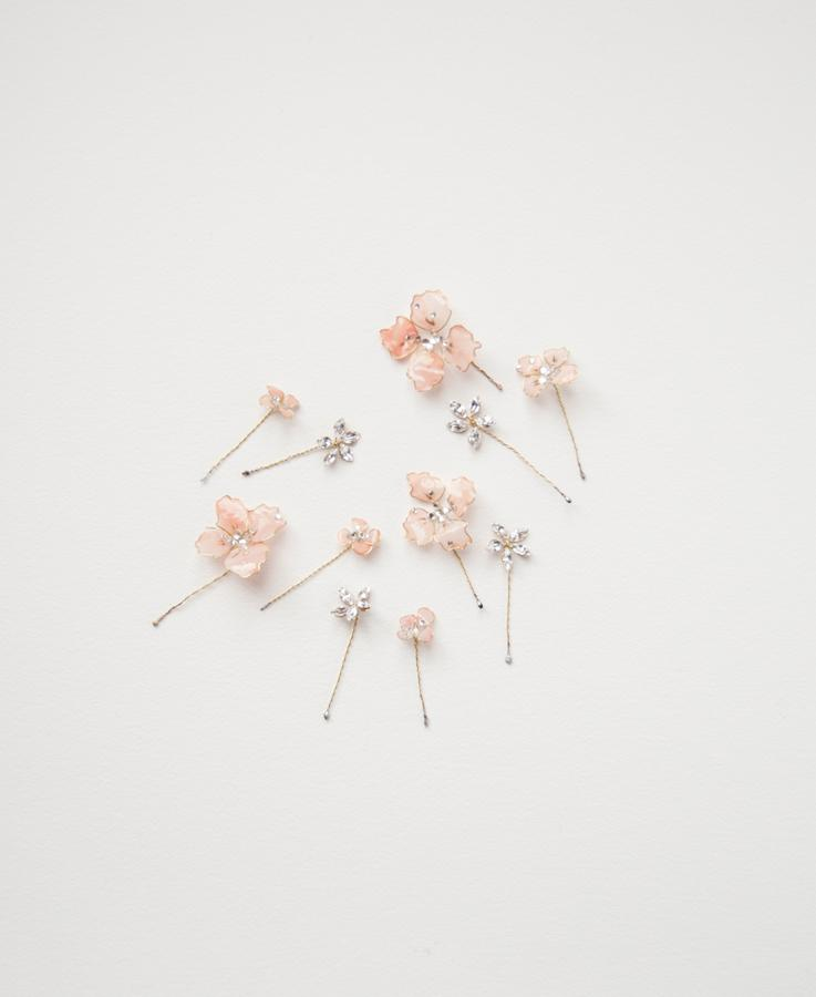 Bridal pink flower hair set | Elibre handmade
