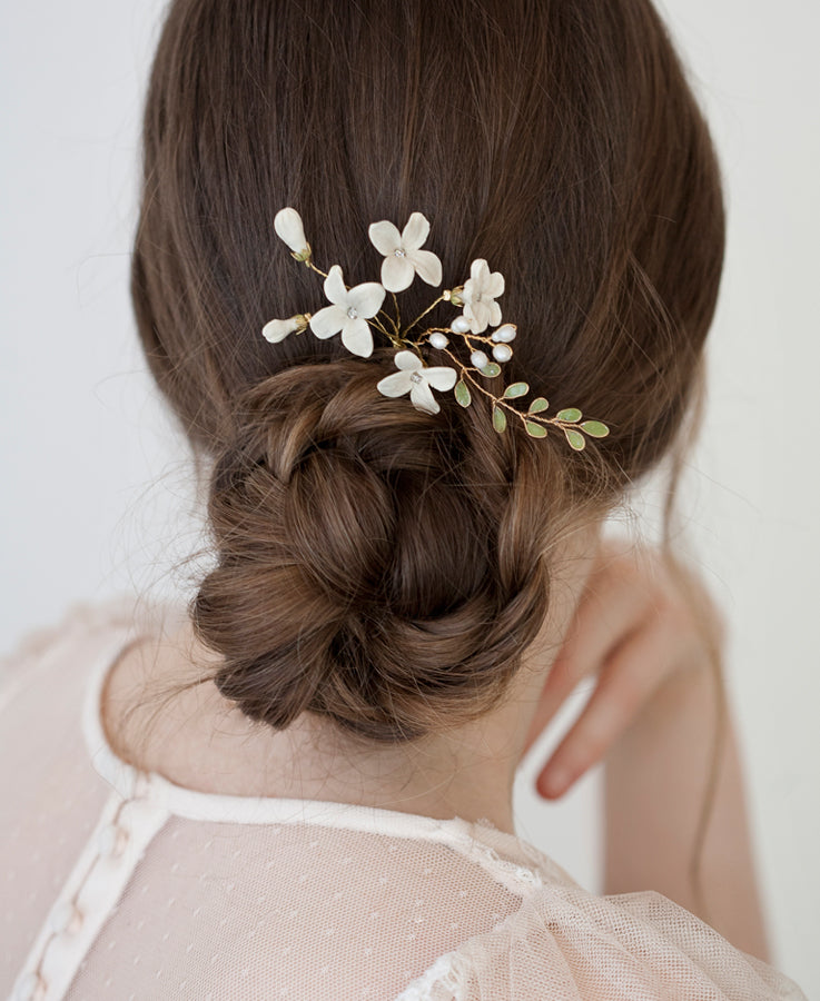 Ceramic flower hairpiece | Elibre handmade