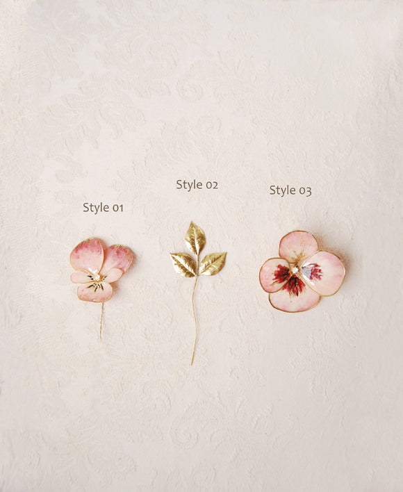 pansy flower hair pins | Elibre handmade