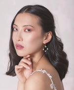 Wedding crystal round pendant earrings | Elibre handmade