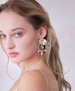 Bridal pink chandelier earrings | Elibre handmade