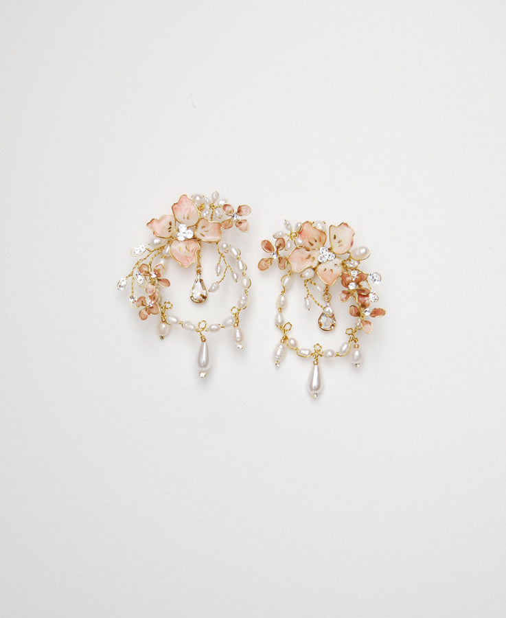 Bridal pink flower earrings | Elibre handmade