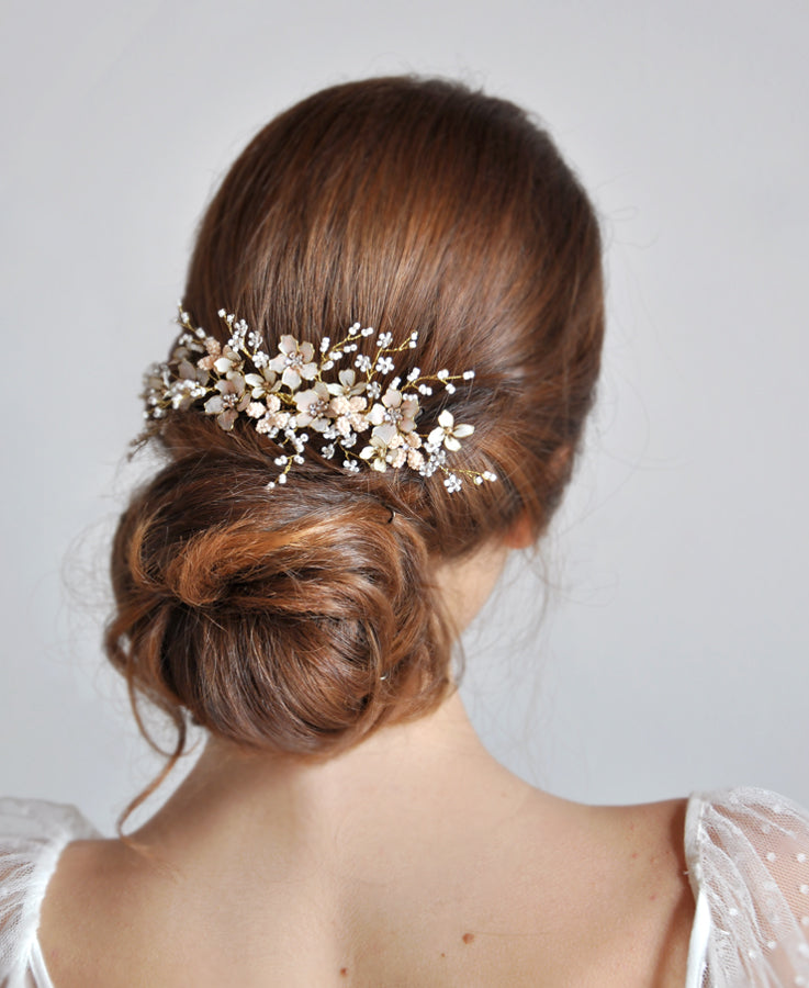 bridal white pink hair comb