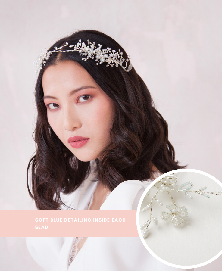 Bridal halo crown with something blue details | Elibre handmade