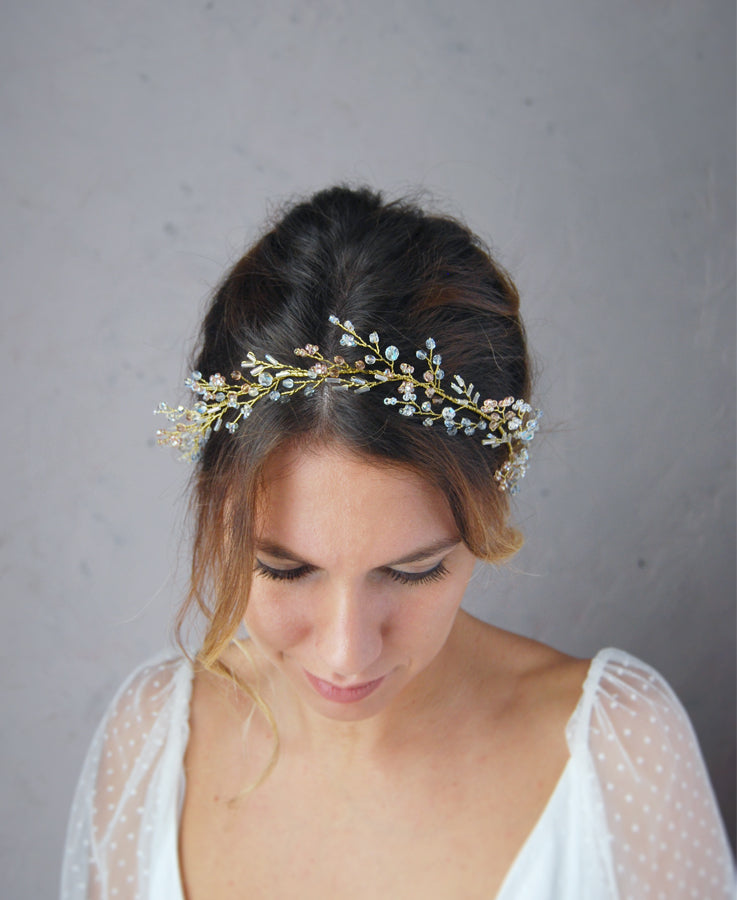 Bridal princess blue and pink halo crown | Eibre handmade