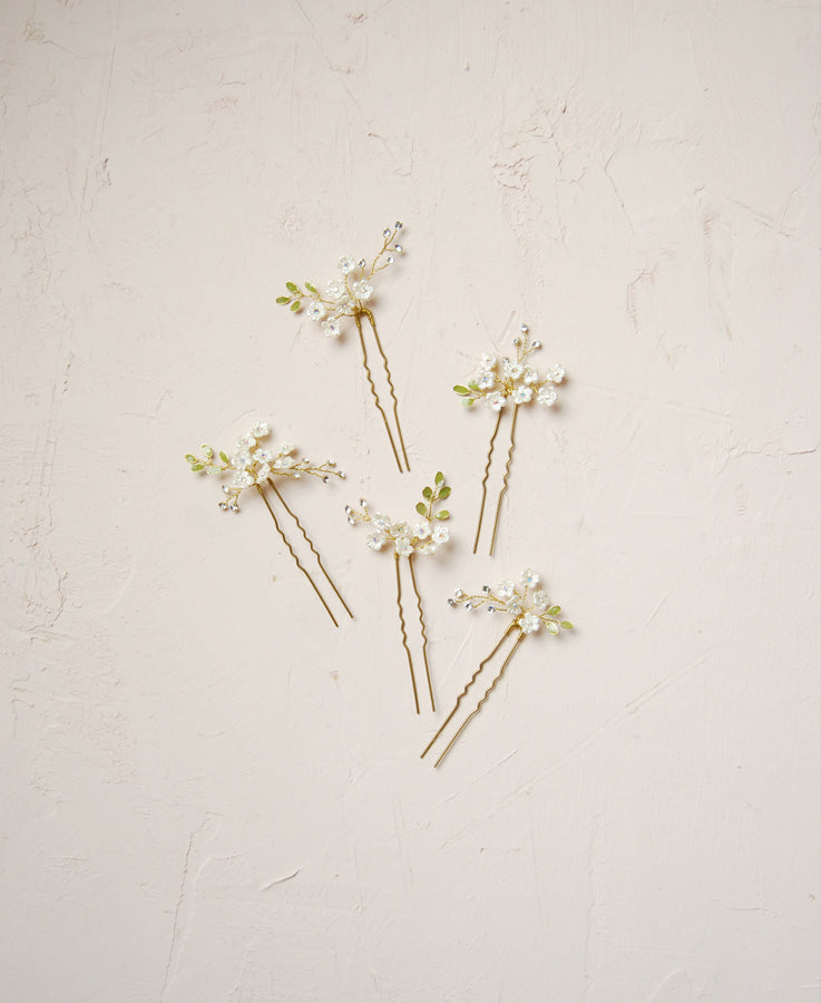 Woodland cluster floret hairpins - set of 5