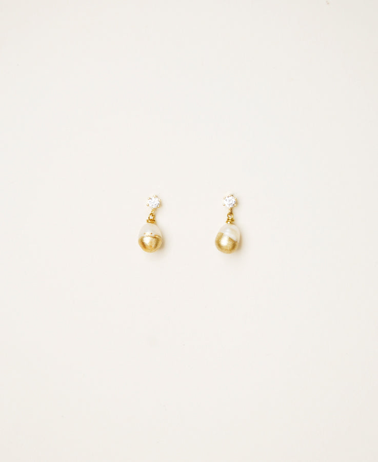 Gold dipped pearl earrings