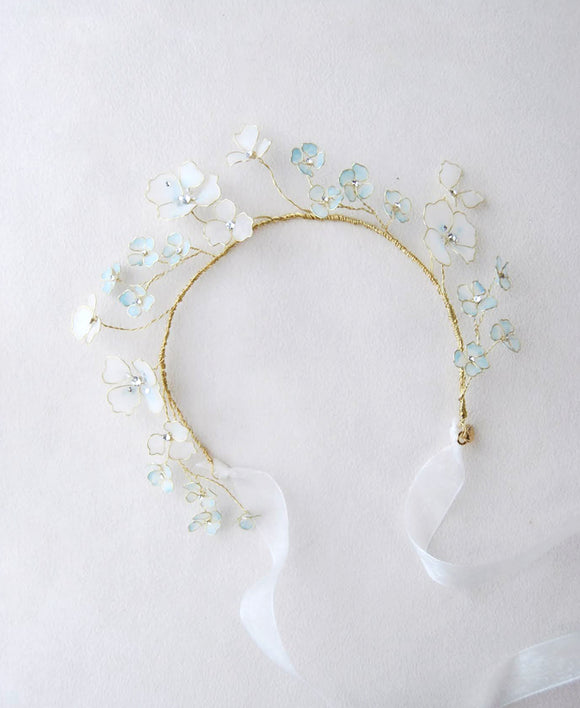wedding blue floral hair tiara