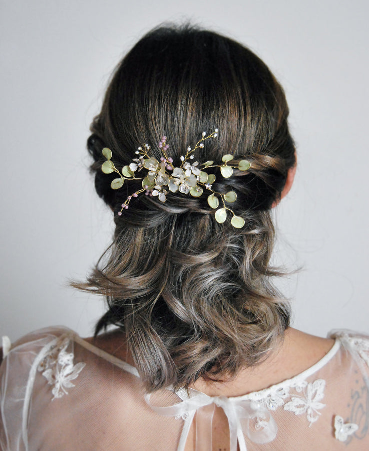 greenery wedding hair pin