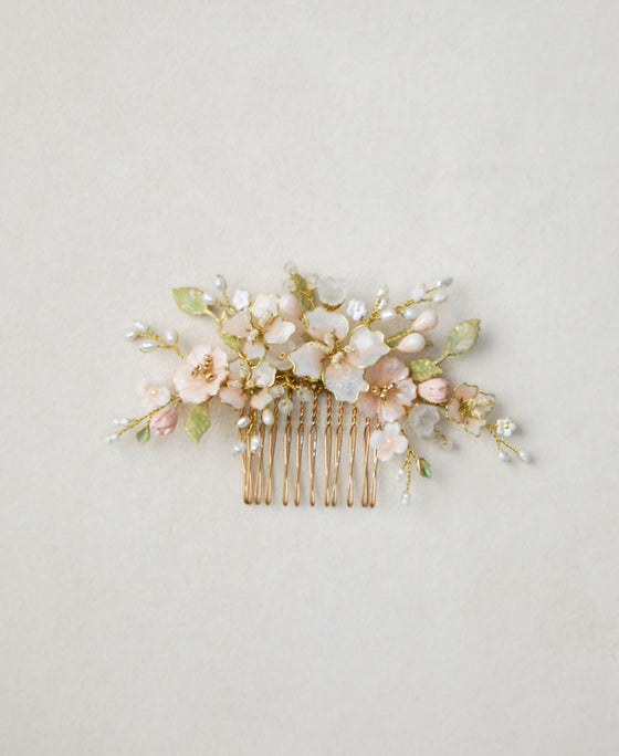 lush floral pink hair comb