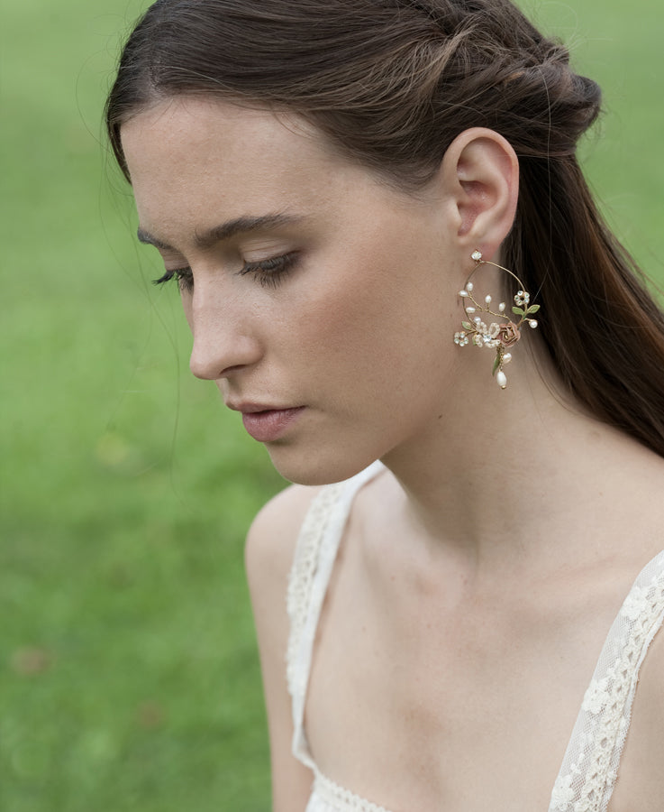 Wedding pearl and flower earrings | | Elibre handmade