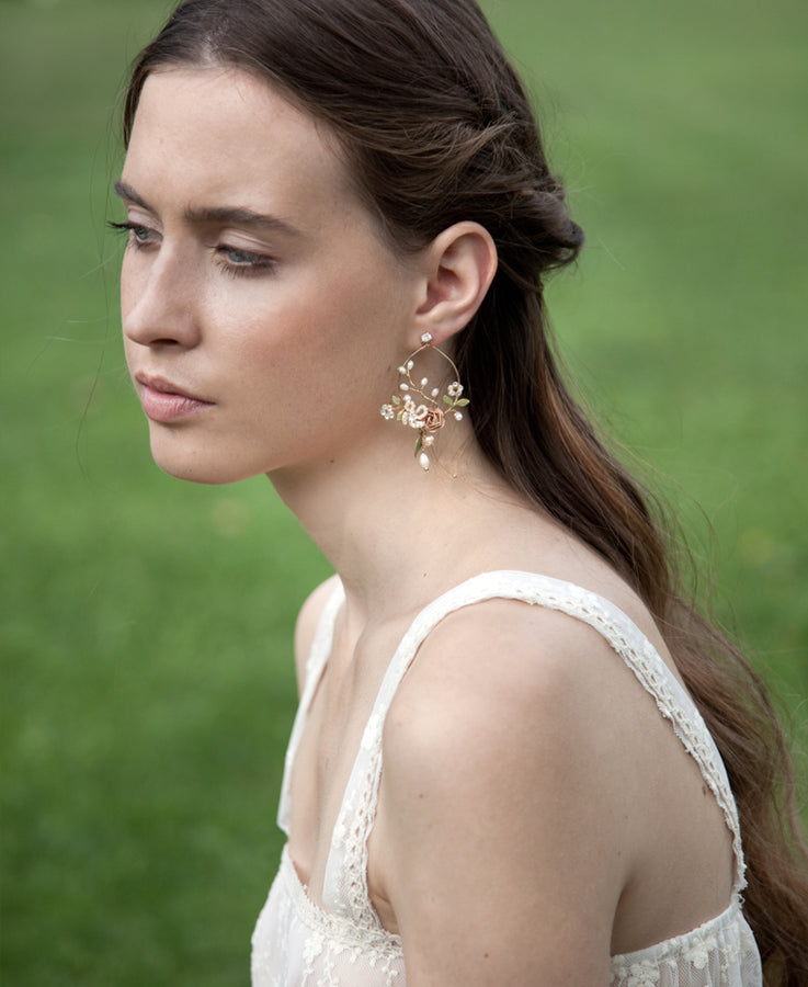 Bridal floral earrings | Elibre handmade