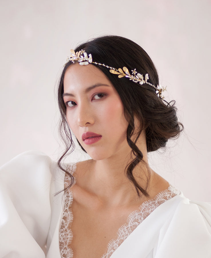 Pearl and Grecian leaf headband | Elibre handmade