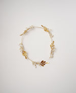 Beaded pearl , crystal and gold leaf head band | Elibre handmade