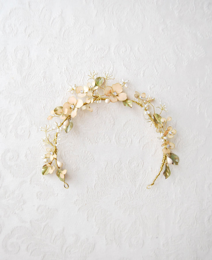 peach pink flower crown bride
