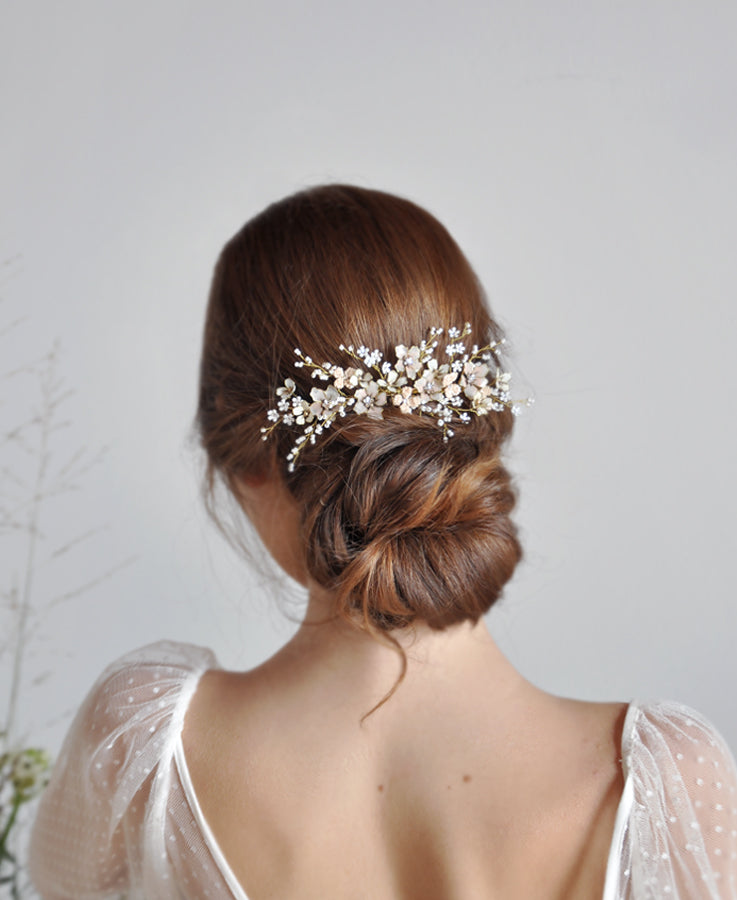 pink wedding hair jewelry