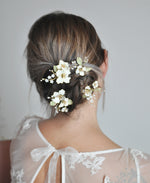 white apple flowers hair pins