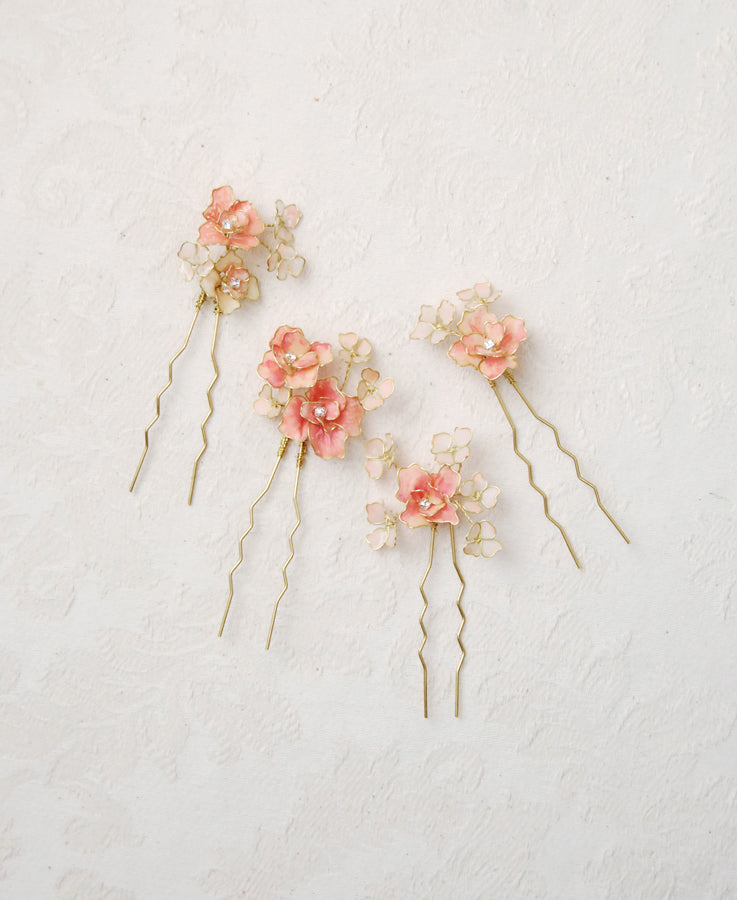 blush pink bouquet hairpins