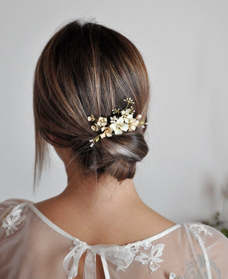 blush pink flower hair comb