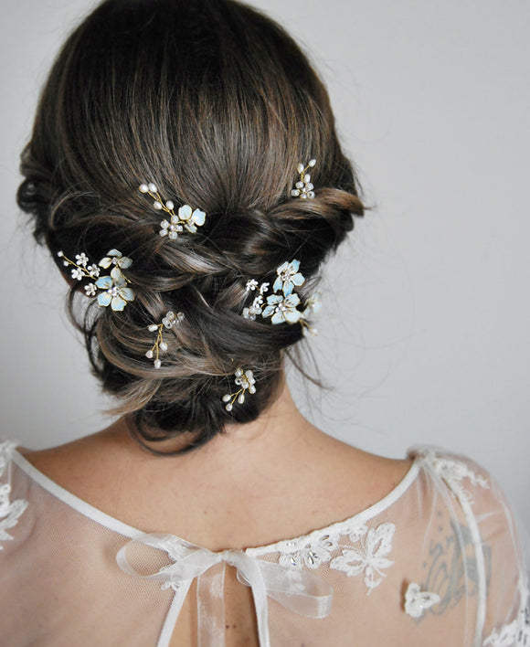 wedding blue flower hairpins
