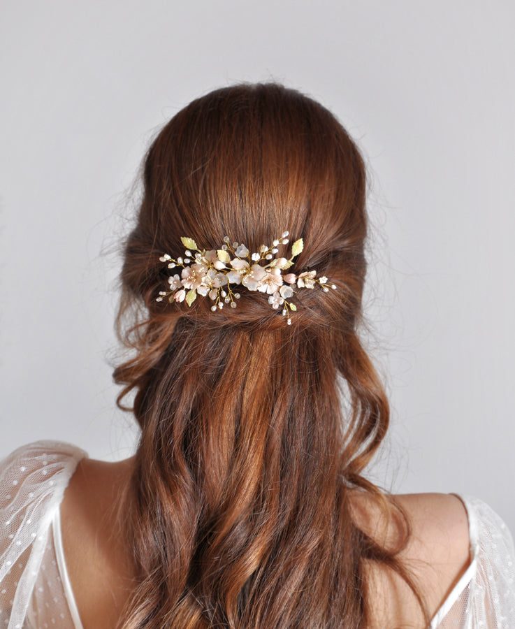 bridal flower leaf head piece